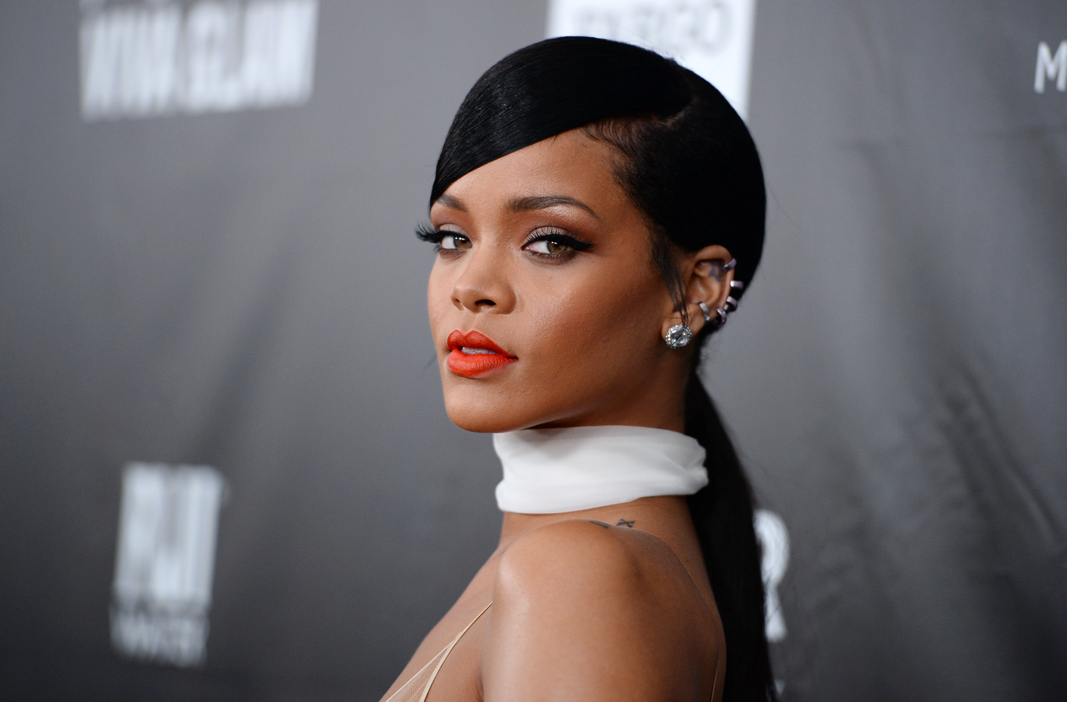 FILE - This Oct. 29, 2014 file photo shows Rihanna at the 2014 amfAR Inspiration Gala at Milk Studios in Los Angeles. Rihanna will host her first Diamond Ball on Dec. 11 to benefit her foundation that promotes education and arts globally. (Photo by Jordan Strauss/Invision/AP, File)